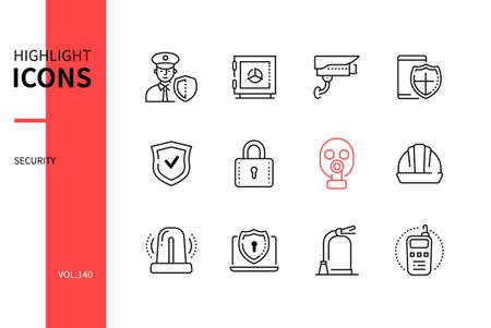 Security - modern line design style icons set