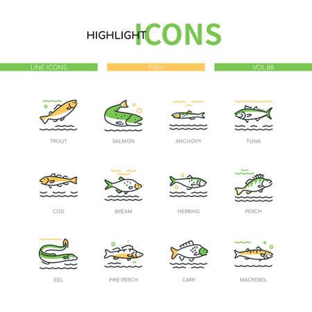 Fish - modern line design style icons set Vecteurs
