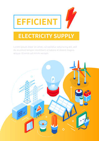Efficient electricity supply - modern colorful isometric web banner