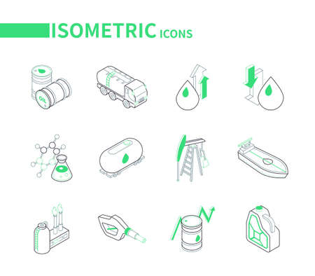 Oil industry - modern line isometric icons set