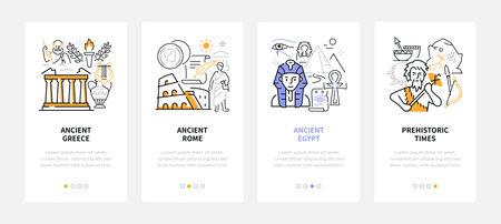 Ancient civilizations - modern line design style web banners