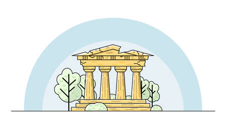 Ancient Greek building. Illustration with columns and pediment Illustration