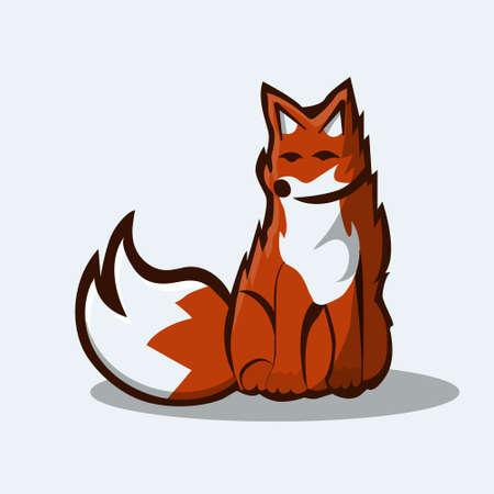 Vector illustration of sitting red fox Иллюстрация
