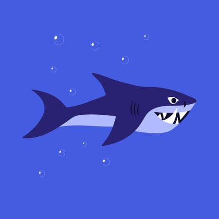 Flat vector illustration of shark in blue water