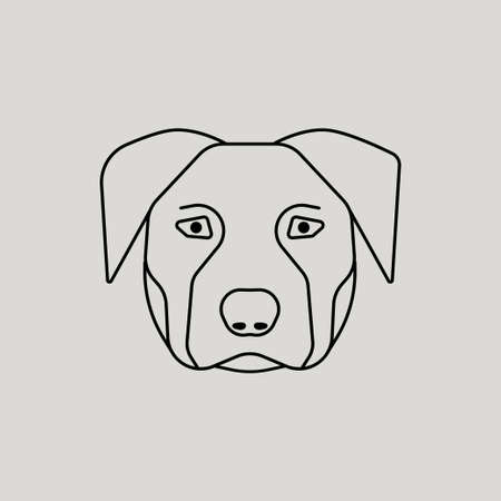 Thin line design logotype. Vector image of dog head on grey background for design
