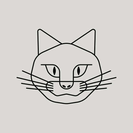 Cat simple vector icon. Black and white illustration of cat. Outline linear cat head icon for design