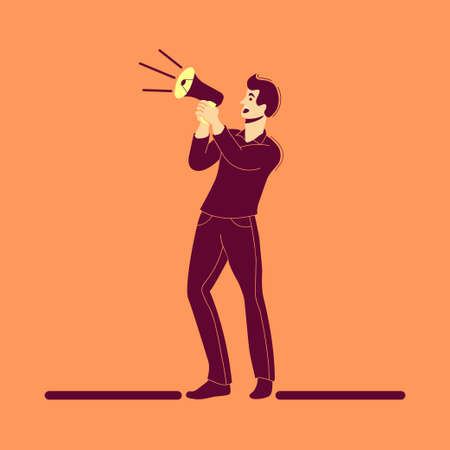Man Using a Megaphone for sharing information, flat illustration