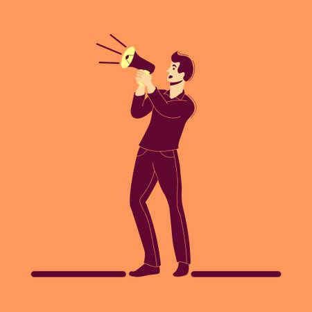 Man Using a Megaphone for sharing information, flat illustration
