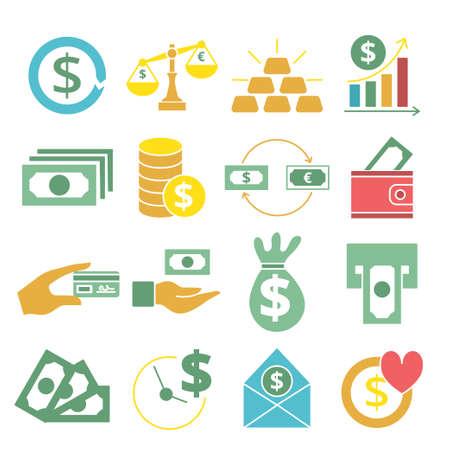 Farbige flache Geldsymbole gesetzt. Vektorillustration für Design Vektorgrafik
