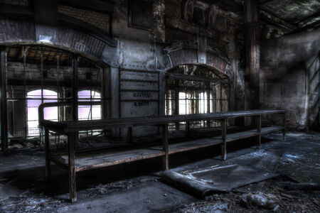 decrepit: abandoned table at the pit electical factory