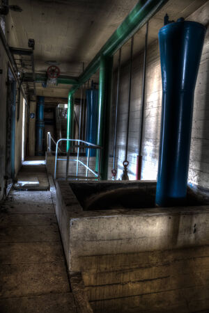 infiltration: corridor with blue and green pipes Stock Photo