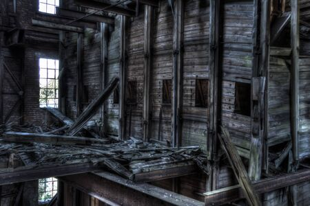 industrial wasteland: mill wood structure Stock Photo