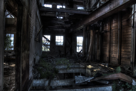 industrial wasteland: abandoned mill Stock Photo
