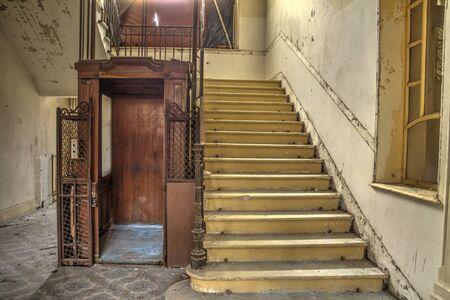 decrepit: wood elevator