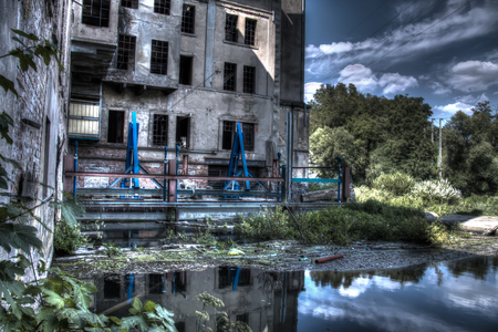 industrial wasteland: abandoned and disgusting water mill