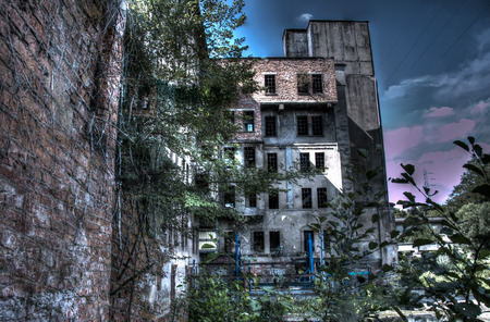 industrial wasteland: abandoned water mill Stock Photo