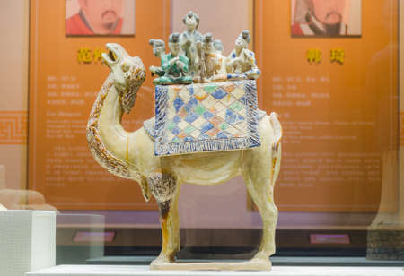 The terracotta warriors and camels ceramic figurine in the Tang Dynasty Editorial