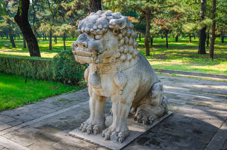 The Ming Dynasty Tombs squatting lion of God Editorial