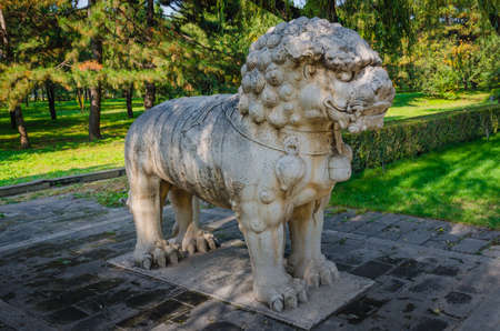 The Ming Dynasty Tombs standing lion of God