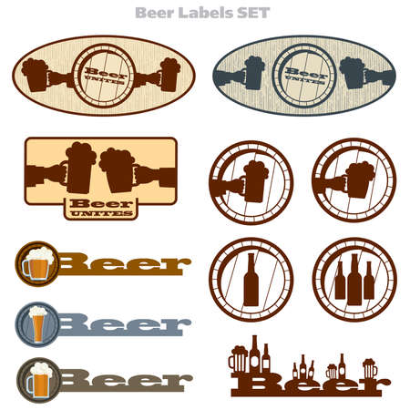 glass bottle: Set of beer icons and labels. For web, prints or design.