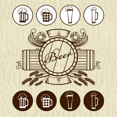 flowed: Beer theme for Bar menu, poster or site Illustration