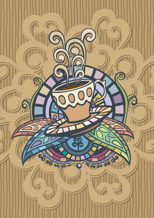 dekor: Template of Coffee menu Cover Illustration