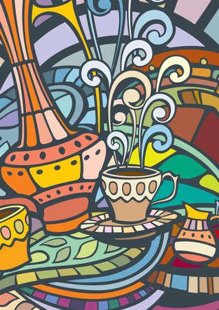 dekor: Template of color Coffee menu cover, label or poster Illustration
