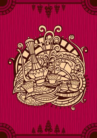 dekor: Template of Coffee menu cover in Oriental style