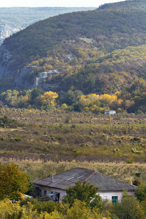 Sunny day in a mountain valley. On the slopes of trees, stands a large house in the valley. Vertical landscape