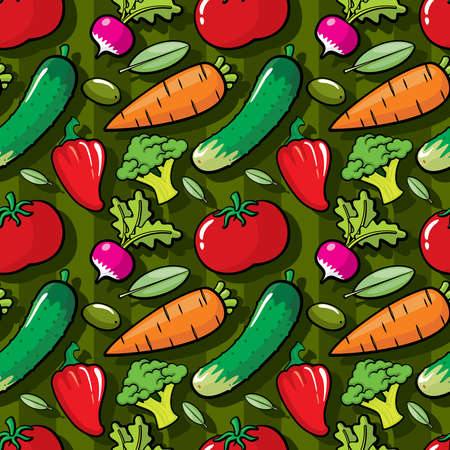 Vegetables on green background, vegetables seamless pattern, colorful seamless pattern, pattern for kitchen sign, vegetarian kitchen decor