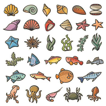 Conjunto colorido de símbolos marinos de 32 imágenes Ilustración de vector