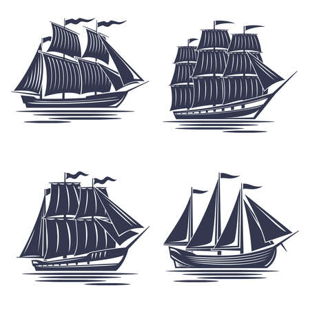 Set of monochrome 4 ships, old ship silhouettes