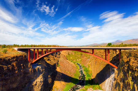 High Bridge over the Crooked River Gorge near Redmond, Oregon that was completed in 1926.