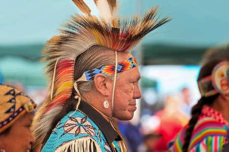 Portland, Oregon, USA - June, 14, 2014:  Native American dressed in full regalia at Delta Park annual Pow Wow in Portland Oregon