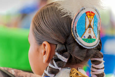 Portland, Oregon, USA - June, 14, 2014: Closeup of a female Native American headress at the annual Delta Park Pow Wow in Portland, Oregon Editorial