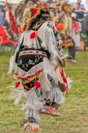 Portland, Oregon USA - June 14, 2014: A Native American Indian in full regalia dances at the annual Delta Park Pow Wow in Portland, Oregon Editorial
