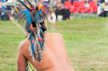 Portland, Oregon, USA - June, 14, 2014: Closeup of a Native American headress at the annual Delta Park Pow Wow in Portland, Oregon Editorial