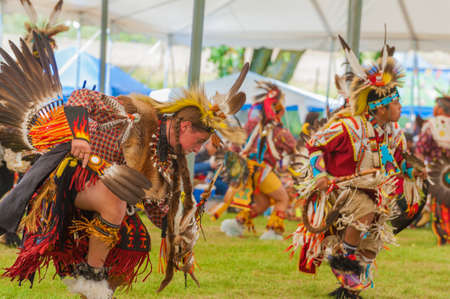 Portland, Oregon USA - June 14, 2014: Close up of the Native American Indian Turkey Dance performed at the annual Delta Park Pow Wow in Portland, Oregon