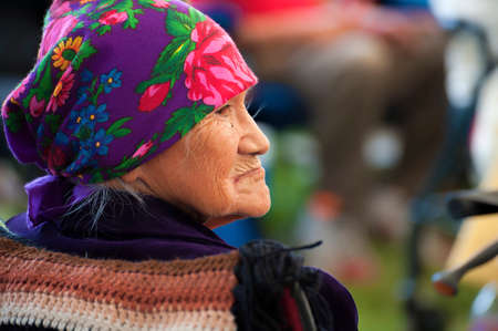 Portland, Oregon, USA - June, 14, 2014: Closeup profile of an elderly Native American Woman