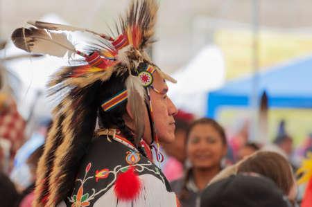 Portland,Oregon,USA - June 14, 2014:  Closeup of a Native American Indian dressed in full regalia at Delta Park annual Pow Wow in Portland Oregon