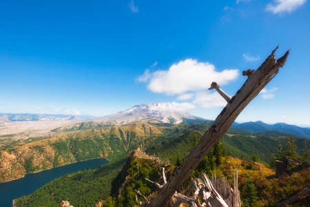 View from near the top of Castle Peak looking out over Castle Lake to Mt. St. Helens. Stock Photo