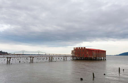 Abandoned net loft on the Columbia River in Astoria, oregon