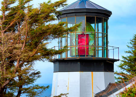 Closeup of Cape Mears Lighthouse first lit in 1890 on the Northern Oregon Coast near Netarts, Oregon Stock Photo