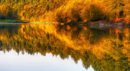 Reflecting fall colors along the Sandy River near Gresham, Oregon