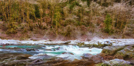 East Fork of the Lewis River in Clark County, Washington, on a frosty winter morning