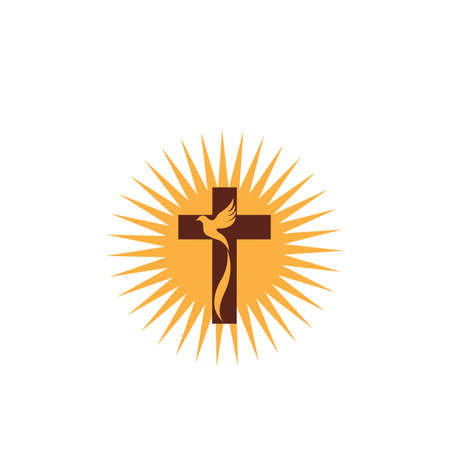 conception d'art de ligne chrétienne d'église, symboles chrétiens.