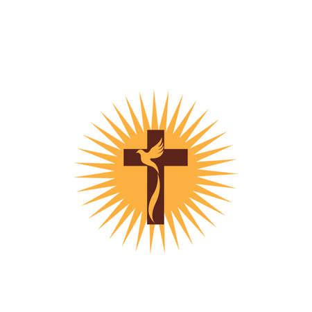 diseño de arte de línea cristiana de la iglesia, símbolos cristianos.