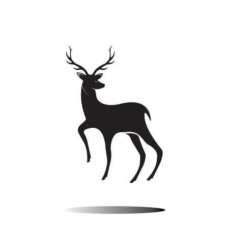 Diseño de ilustración de icono de vector de plantilla de ciervo