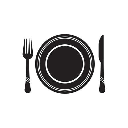 Cutlery vector icon illustration signCutlery and Kitchen Set Icon Design Template Vetores