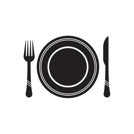 Posate icona vettore illustrazione segno Posate e set da cucina icona Design Template Vettoriali